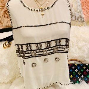 Boutique silk beaded top